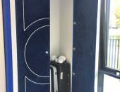 Дверь-01 с обивкой темно-синим микровелюром
